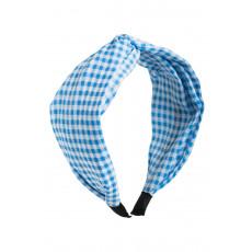 Γαλάζια Καρό Φαρδιά Στέκα Μαλλιών Στυλ Τουρμπάνι