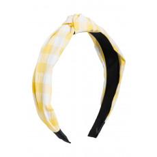 Κίτρινη Καρό Στέκα Μαλλιών Με Κόμπο Τουρμπάνι